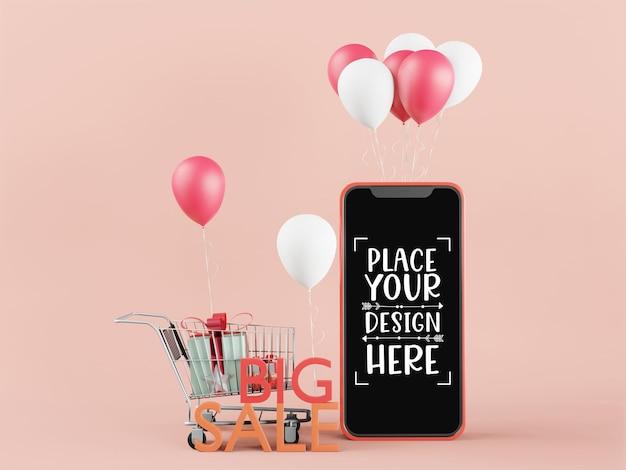 Mockup di smartphone con schermo vuoto e grande vendita