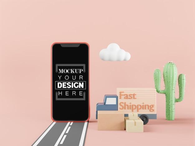Mockup di smartphone con schermo vuoto con camion di spedizione veloce