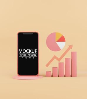Mockup di smartphone con schermo vuoto con grafici e tabelle
