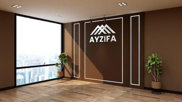 Mockup logo muro bianco in elegante ufficio in legno