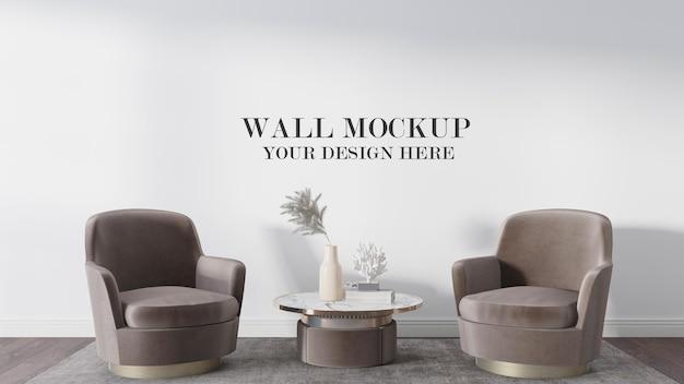 Mockup di muro bianco in scena 3d