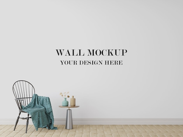 Visualizzazione 3d mockup muro bianco
