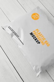Modello in bianco d'imballaggio del modello del sacchetto di plastica bianco per la vostra progettazione