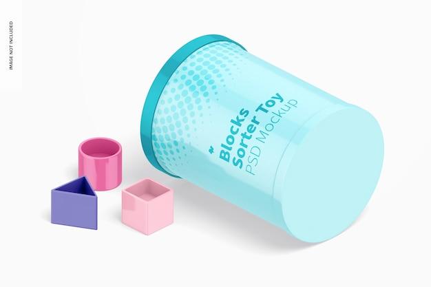 Mockup giocattolo sorter blocchi, vista isometrica sinistra
