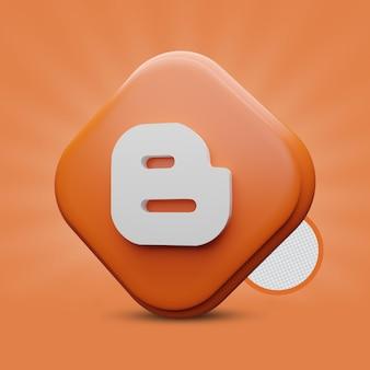 Icona di rendering 3d di blogger