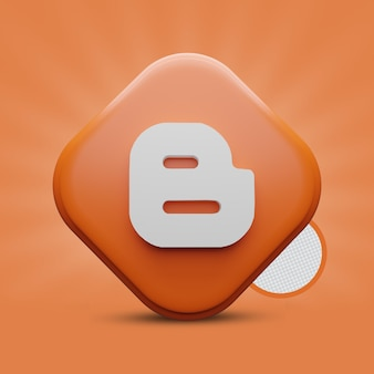 Rendering 3d dell'icona di blogger