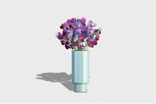 Fiori sbocciano in vaso in rendering 3d