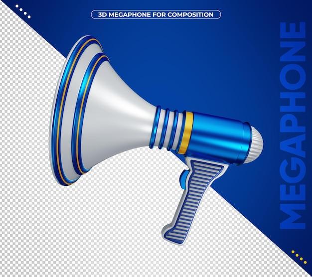 Megafono blu 3d per composizione isolata