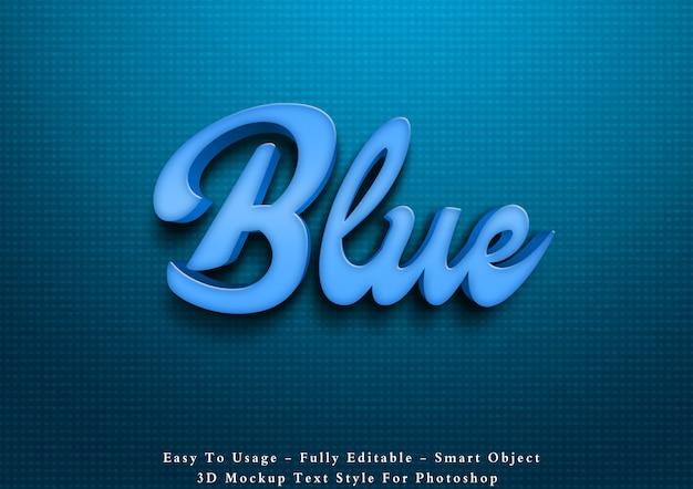 Effetto blu di stile del testo 3d Psd Premium