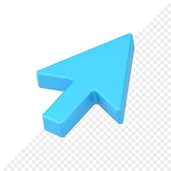 L'icona realistica 3d del puntatore a freccia blu rende. cursore del mouse geometrico per il sito web. interfaccia realistica del computer per la scelta delle azioni online. correttore di giusta direzione al gol.
