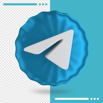 Palloncino blu e logo del rendering 3d di telegram