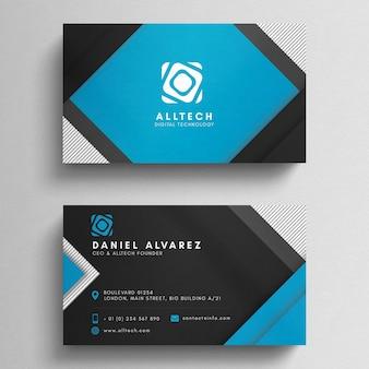 Modello di biglietto da visita geometrica blu e nero