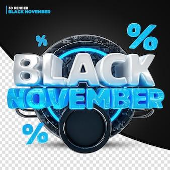Blu nero sconto offerta di novembre etichetta 3d render per composizione