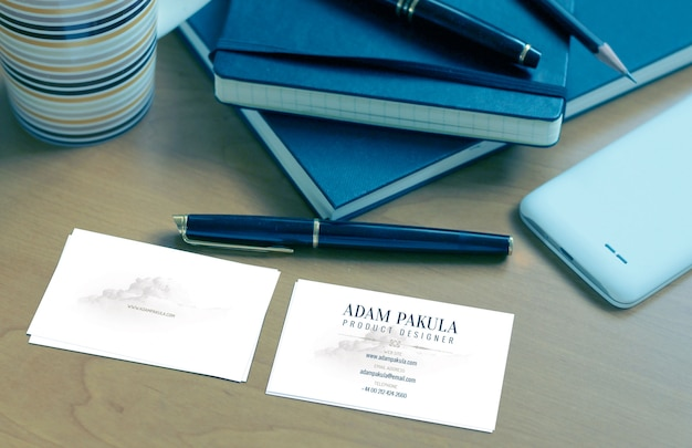File mockup biglietto da visita blu