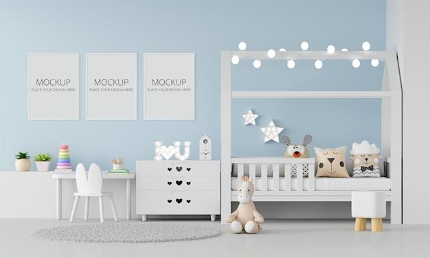 Interno camera da letto bambino blu con mockup di telaio