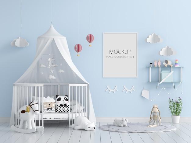 Camera da letto bambino blu con mockup di cornice