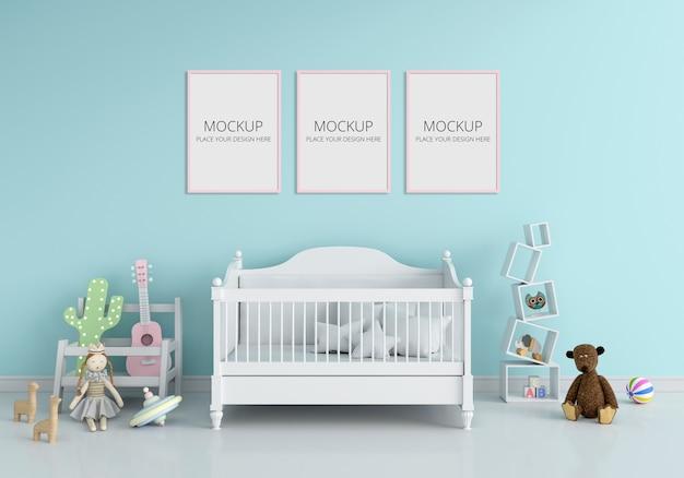 Interno camera da letto bambini blu per mockup