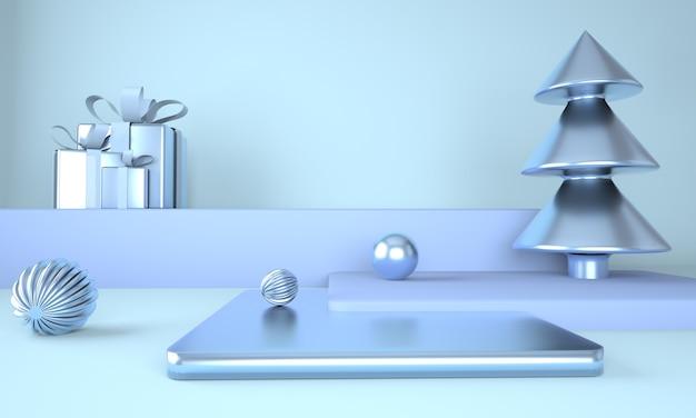 Sfondo di natale blu con albero di natale e palco per la visualizzazione del prodotto