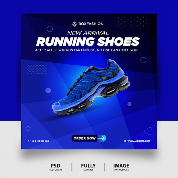 Colore blu scarpe da corsa prodotto di marca social media post banner
