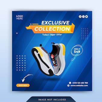 Modello di banner post social media di scarpe sportive di colore blu