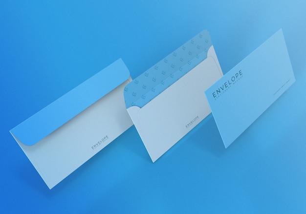 Mockup di busta blu con sfondo azzurro