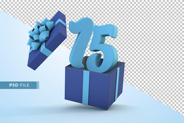 Confezione regalo blu e numero blu 15 un concetto di celebrazione di buon compleanno 3d render