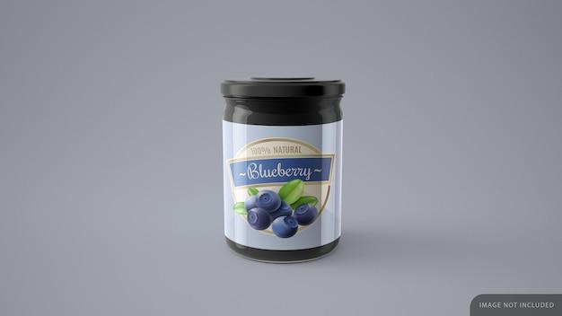 Mockup di barattolo di gelatina blu