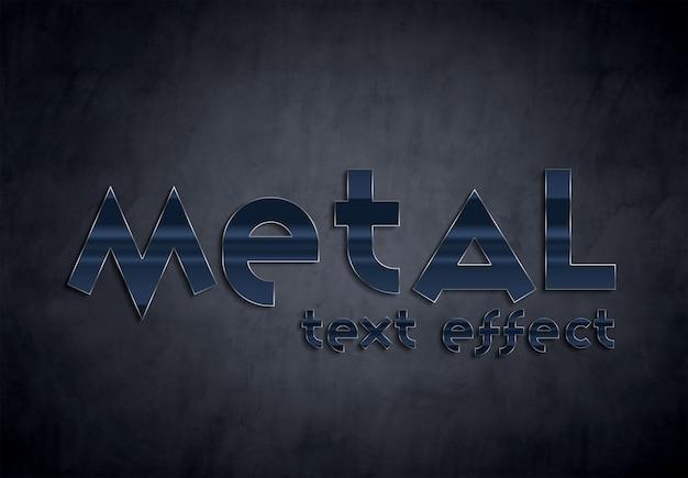 Mockup stile effetto testo in metallo blu