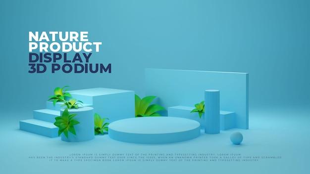 Visualizzazione promozionale del prodotto realistico del podio 3d della pianta della natura blu