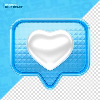 Reazione 3d del cuore di facebook di novembre blu per la composizione