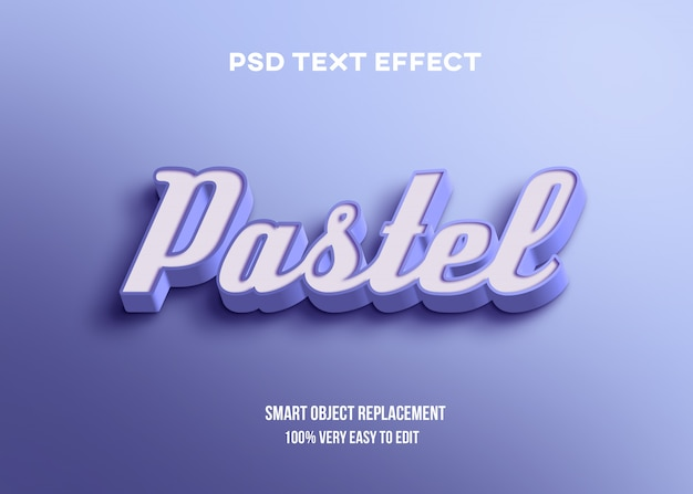Effetto pastello blu del testo 3d