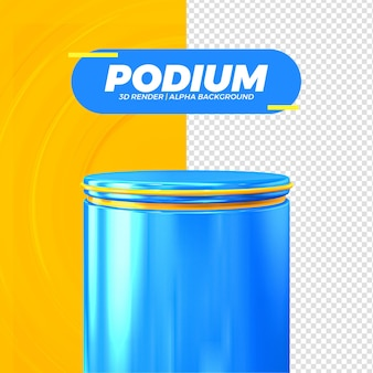 Palco podio blu isolato per composizione render 3d premium psd
