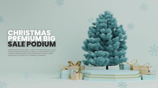 Podio blu con albero di natale realistico e confezione regalo