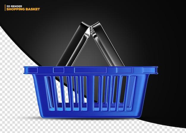 Cestino della spesa del supermercato blu isolato per la composizione