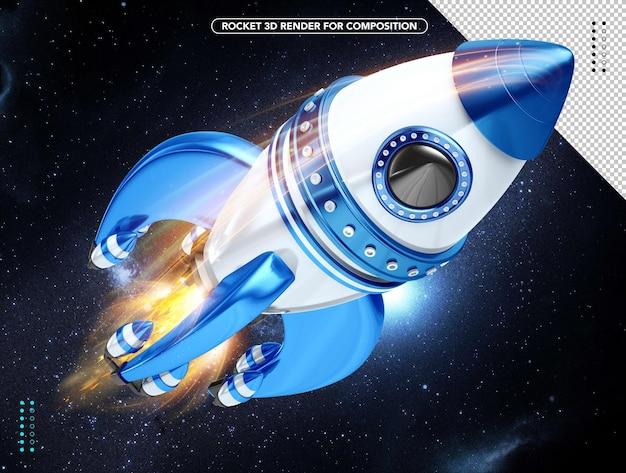Razzo 3d realistico blu e bianco che vola sopra la testa