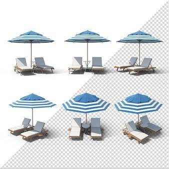 Sedia estiva blu e bianca con ombrellone isolato