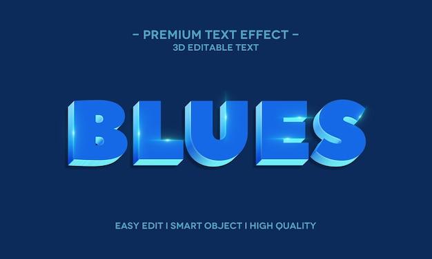 Blues 3d modello di effetto di stile di testo