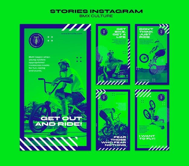 Modello di storie di instagram di concetto di cultura bmx