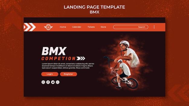 Modello di pagina di destinazione bmx con foto