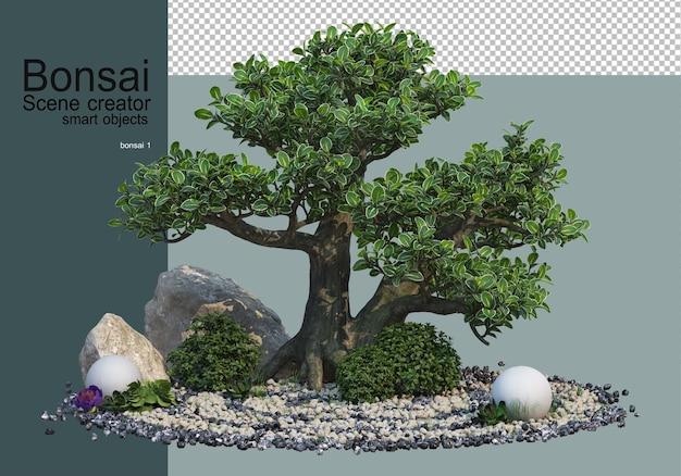 Bonsai e arbusti nel giardino di ghiaia