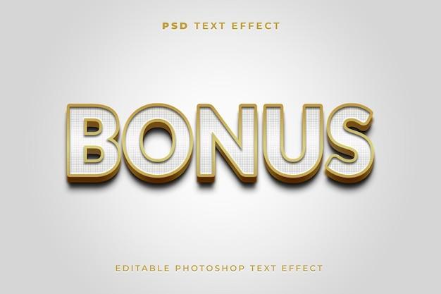 Modello di effetto testo 3d bonus con colori bianco e oro