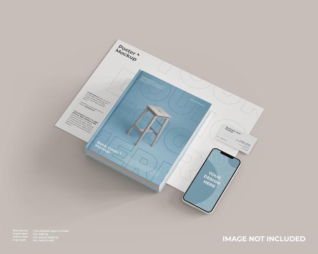 Copertina del libro, smartphone, biglietto da visita e mockup di poster in un unico posto