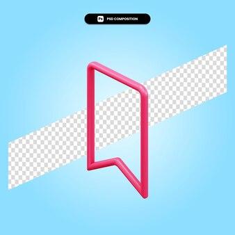 Segnalibro 3d rende l'illustrazione isolata