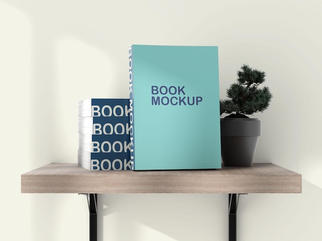 Libri sul mockup dello scaffale