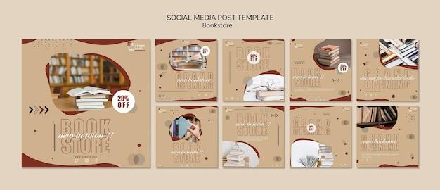 Modello di post sui social media degli annunci di libreria