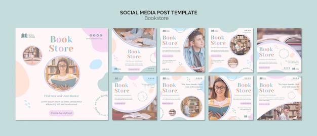 Bookstore modello di post sui social media
