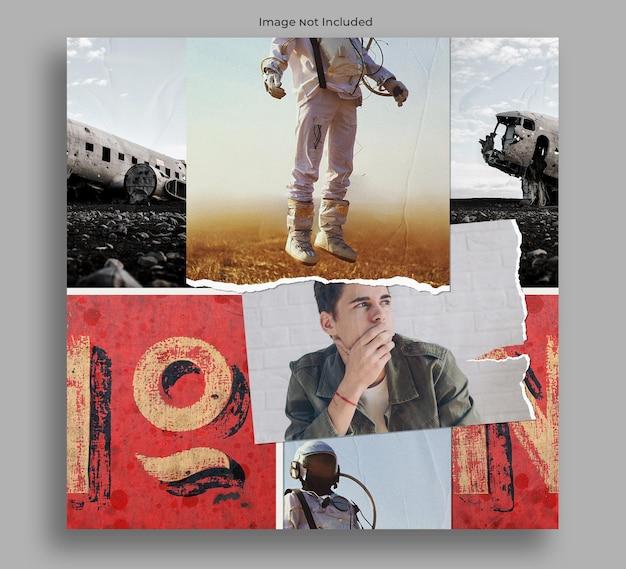 Mockup di mood board collage di foto senza bordi
