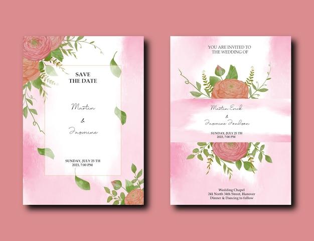 Modello di biglietti d'invito per matrimonio botanico con fiori ad acquerello di peonia e design di foglie selvatiche