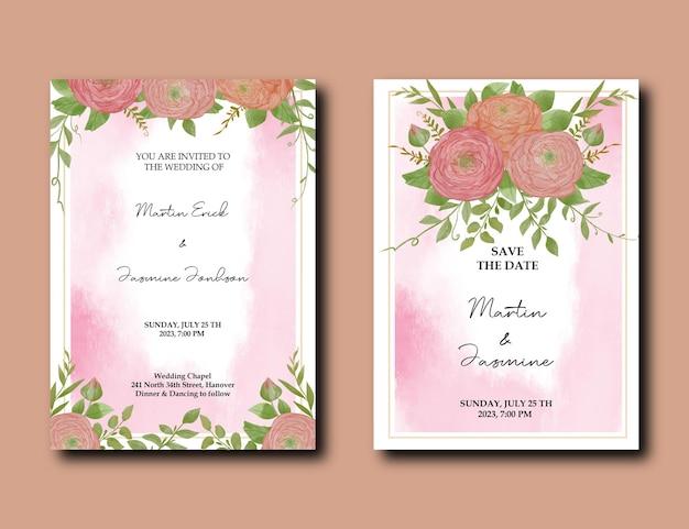 Modello di biglietti d'invito per matrimonio botanico con fiori ad acquerello di peonia