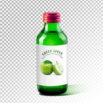 Bottiglia di mockup di design di succo di mela verde